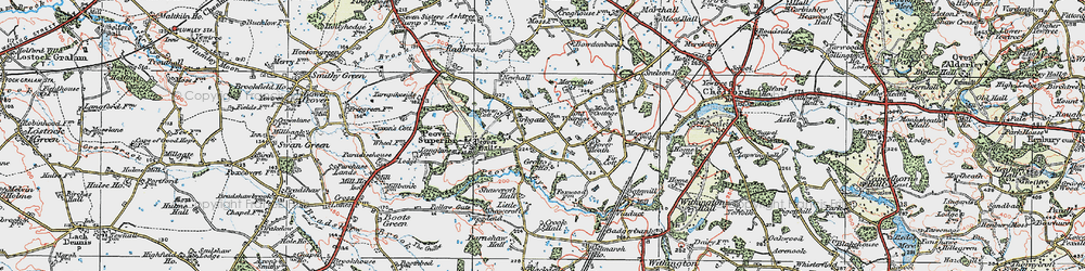 Old map of Over Peover in 1923