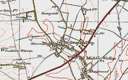 Old map of Over Wallop in 1919