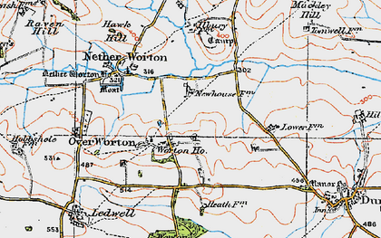 Old map of Worton Ho in 1919