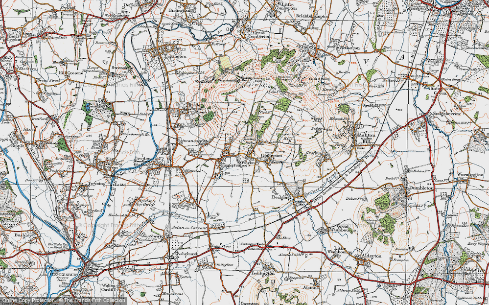 Old Map of Overbury, 1919 in 1919