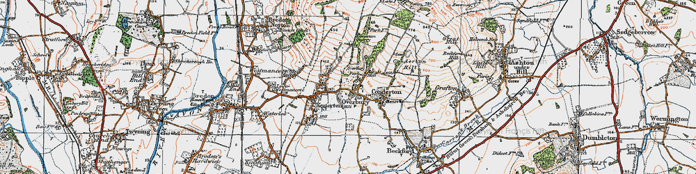 Old map of Overbury in 1919