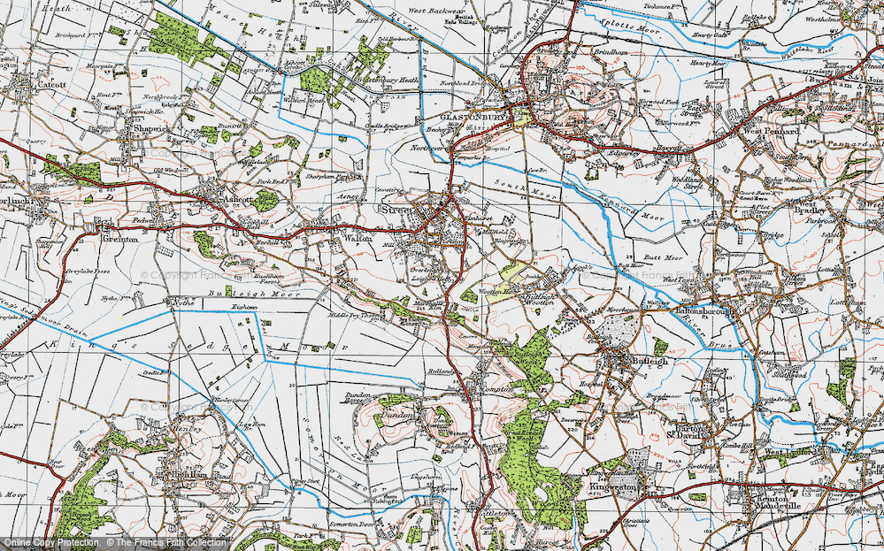 Old Map of Historic Map covering Leigh Holt in 1919