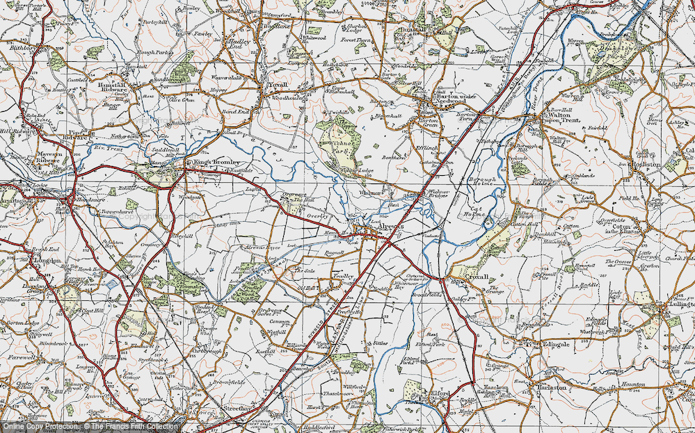 Old Map of Historic Map covering Wychnor Park in 1921
