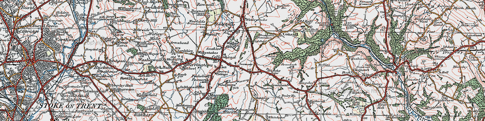 Old map of Wetley Abbey in 1921