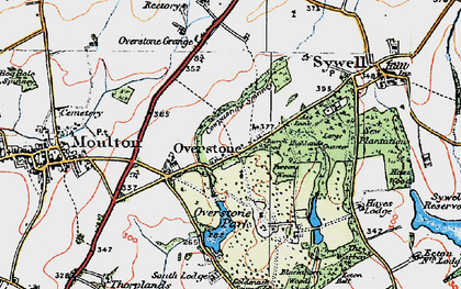 Old map of Overstone in 1919