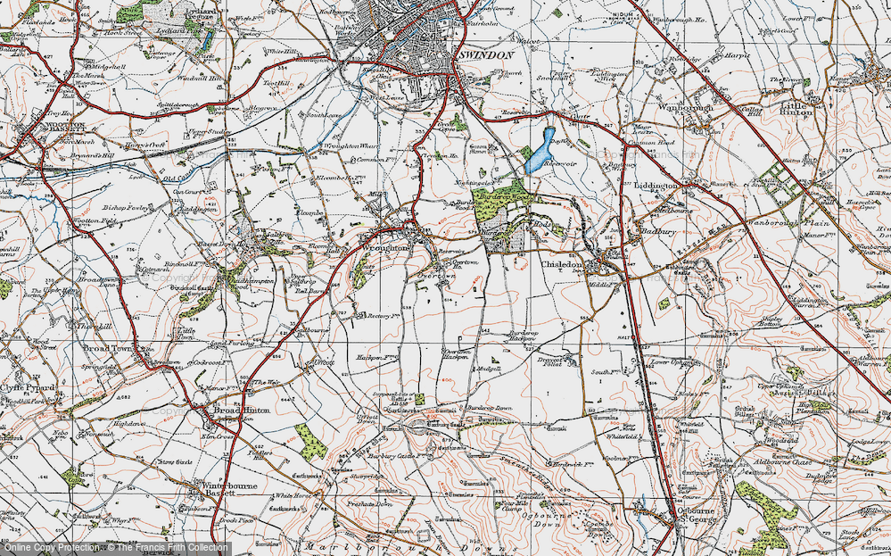 Old Map of Historic Map covering Barbury Castle Country Park in 1919