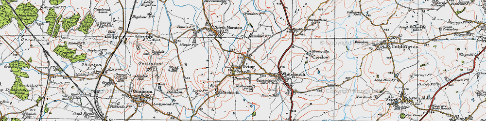 Old map of Oving in 1919