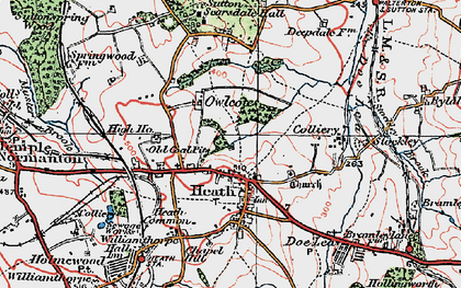 Old map of Owlcotes in 1923