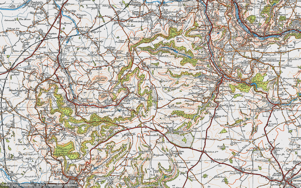 Old Map of Historic Map covering Woodcock in 1919