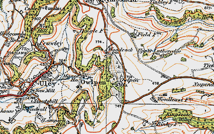 Old map of Owlpen in 1919