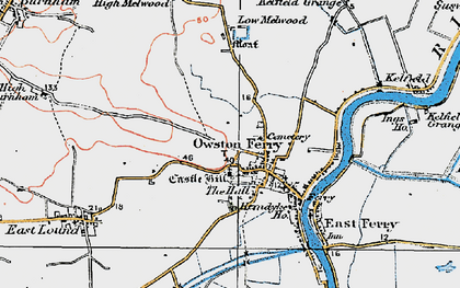 Old map of Owston Ferry in 1923