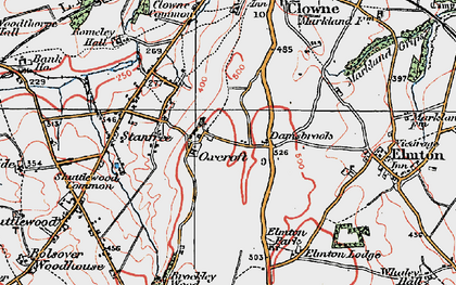 Old map of Oxcroft in 1923