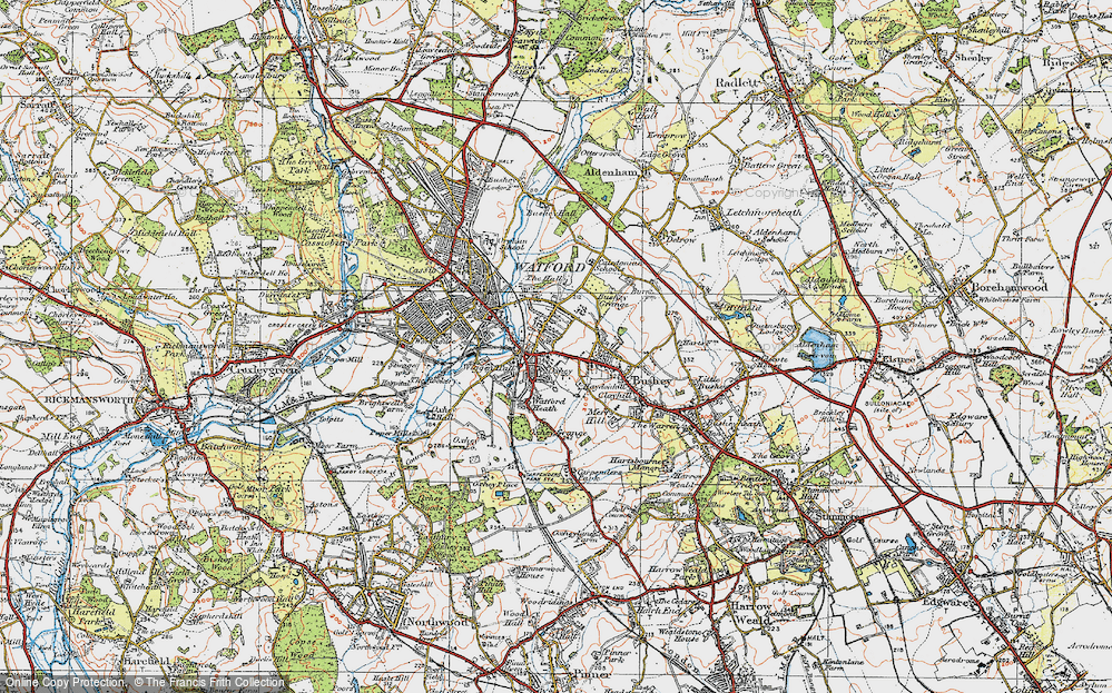 Old Map of Oxhey, 1920 in 1920
