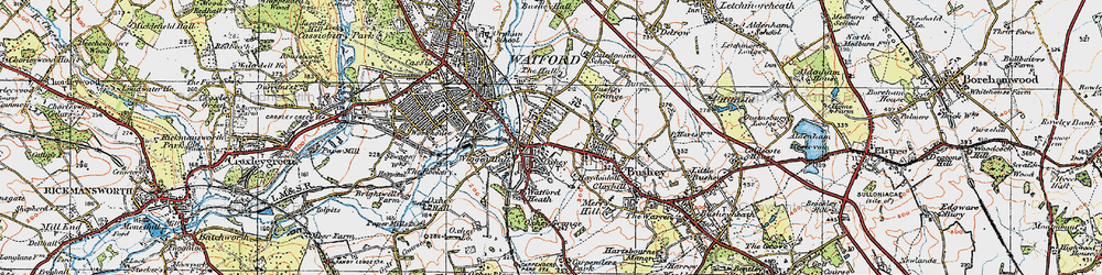 Old map of Oxhey in 1920