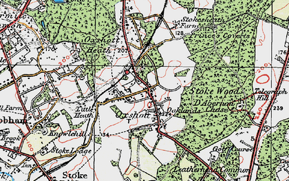 Old map of Oxshott in 1920