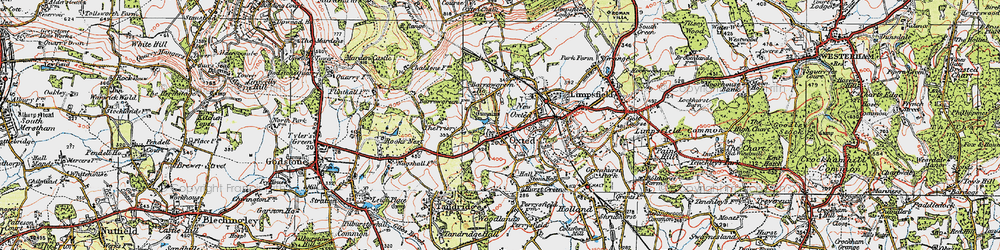 Old map of Oxted in 1920