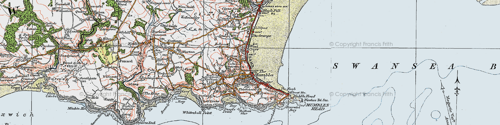 Old map of Oystermouth in 1923