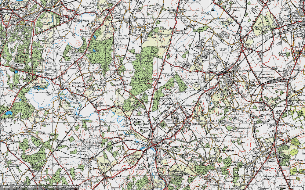 Old Map of Historic Map covering Ashtead Common in 1920