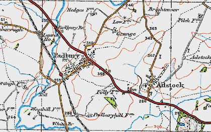 Old map of Padbury in 1919