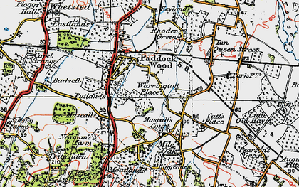 Old map of Paddock Wood in 1920