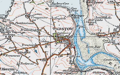 Old map of Padstow in 1919