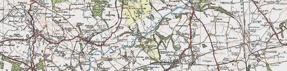 Old map of Whitworth Hall Country Park in 1925