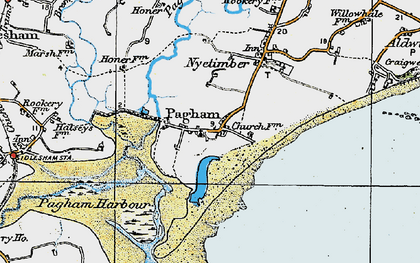 Old map of Pagham in 1919