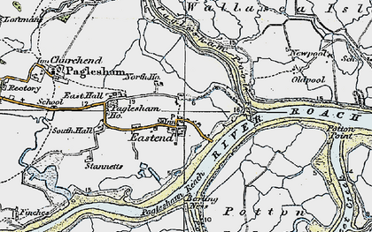 Old map of Wallasea Island in 1921