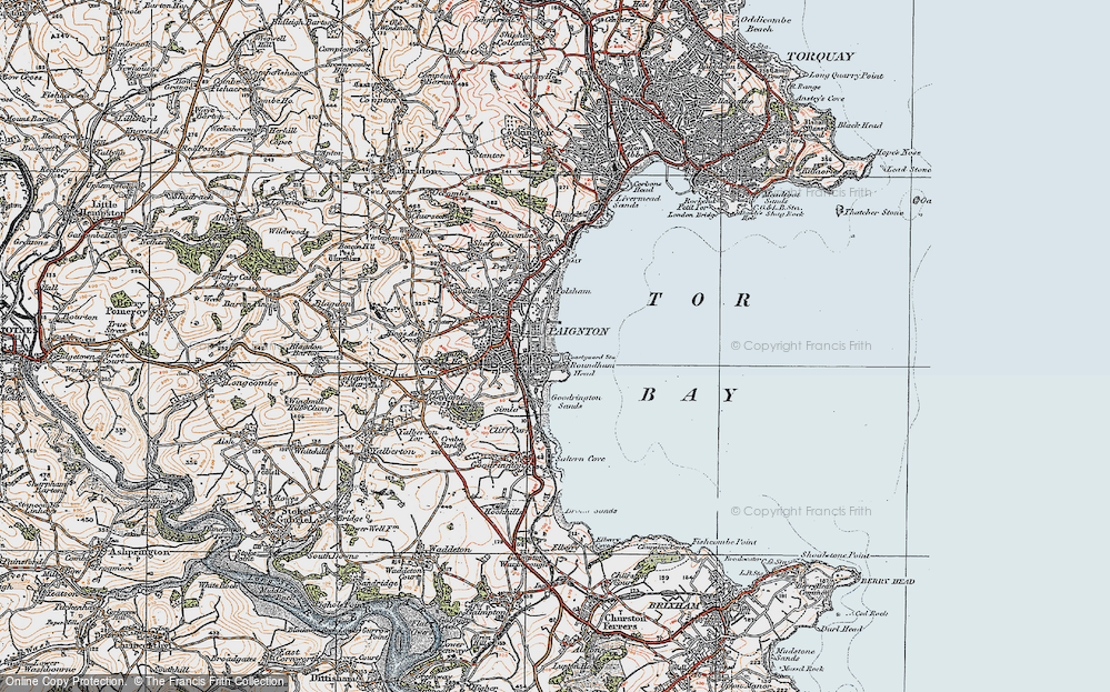 Old Map of Paignton, 1919 in 1919