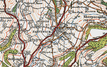 Old map of Painswick in 1919
