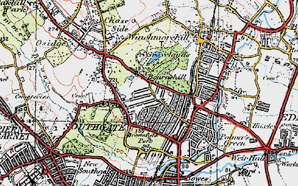 Old map of Palmers Green in 1920