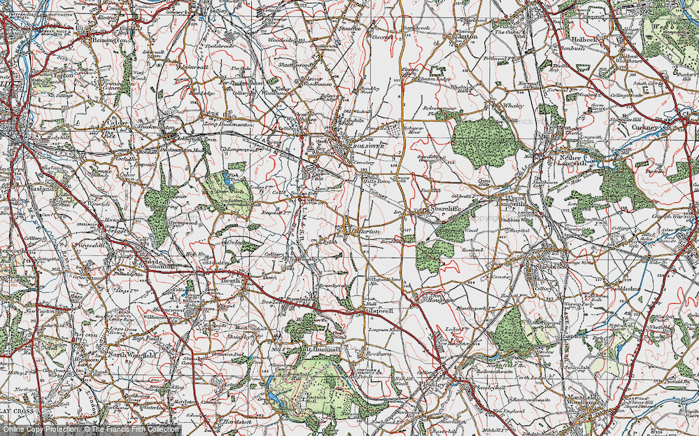 Old Map of Palterton, 1923 in 1923