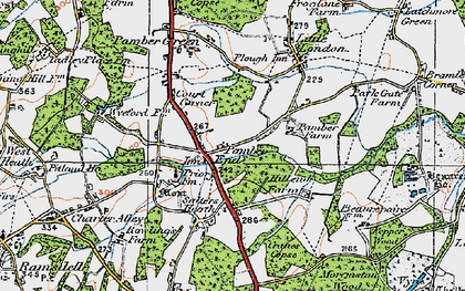 Old map of Pamber End in 1919