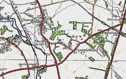 Old map of Whittlesford Parkway Sta in 1920