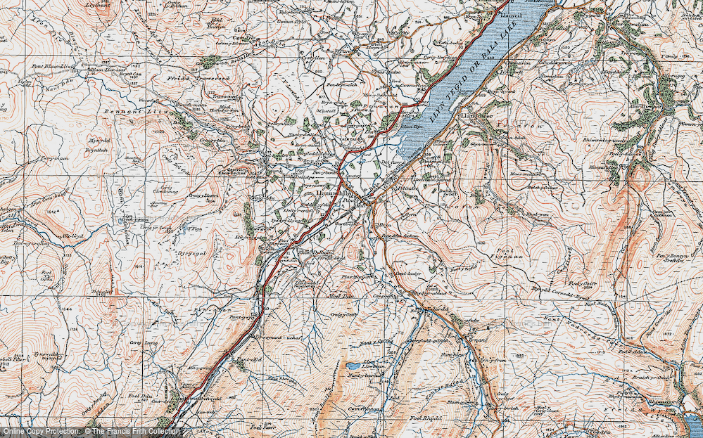 Old Map of Historic Map covering Afon Twrch in 1921