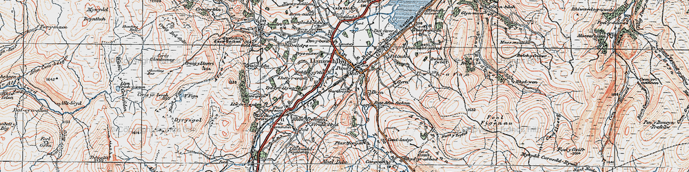 Old map of Afon Twrch in 1921