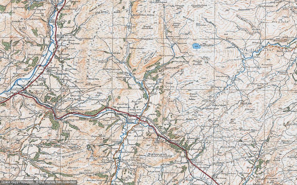 Old Map of Historic Map covering Afon Rhiw Saeson in 1921