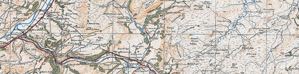 Old map of Afon Rhiw Saeson in 1921