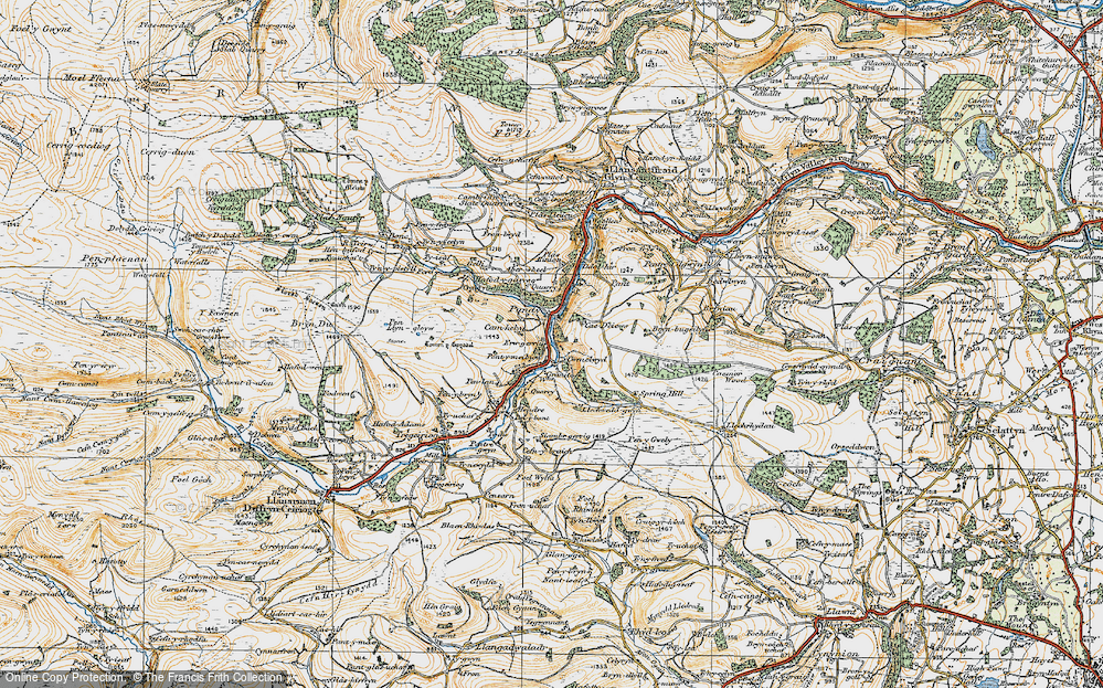 Old Map of Historic Map covering Aberwiel in 1921