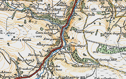 Old map of Tomen y Gwyddel in 1921
