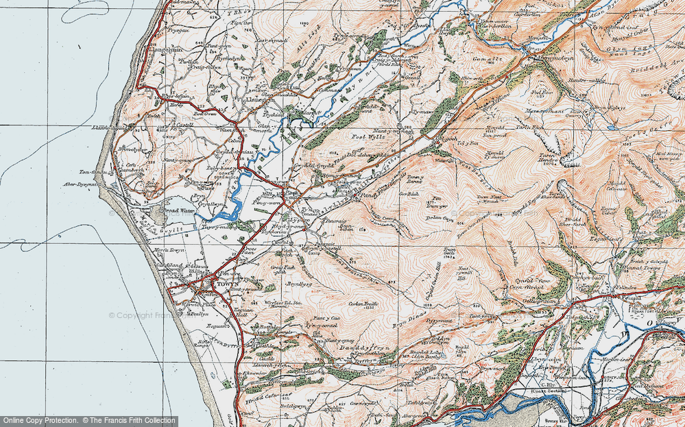 Old Map of Historic Map covering Afon Cwm-pandy in 1922