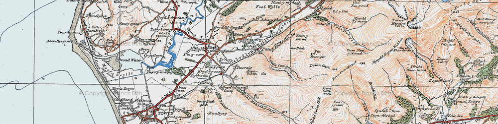 Old map of Afon Cwm-pandy in 1922