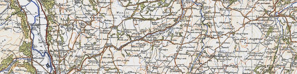 Old map of Afon Derfyn in 1922