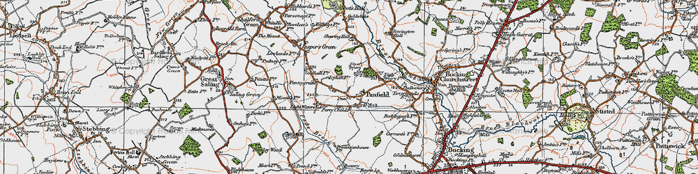 Old map of Panfield in 1921