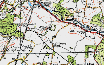 Old map of Panshanger in 1920