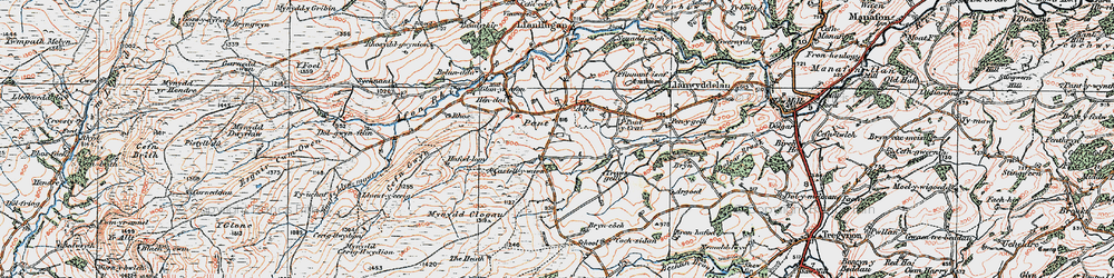 Old map of Aberclawdd in 1921