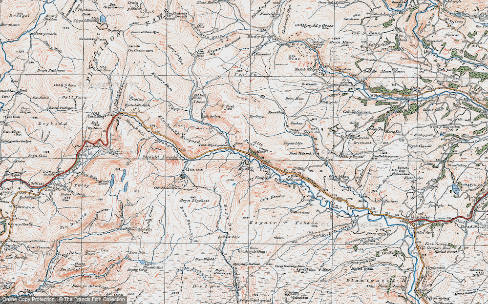 Old Map of Historic Map covering Allt Pant-mawr in 1922