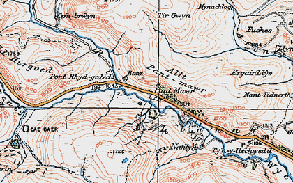 Old map of Allt Pant-mawr in 1922
