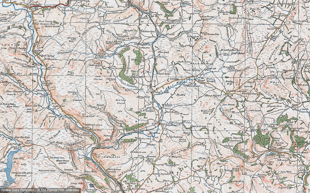Old Map of Historic Map covering Afon Marteg in 1922