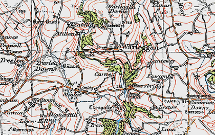 Old map of Lantewey in 1919